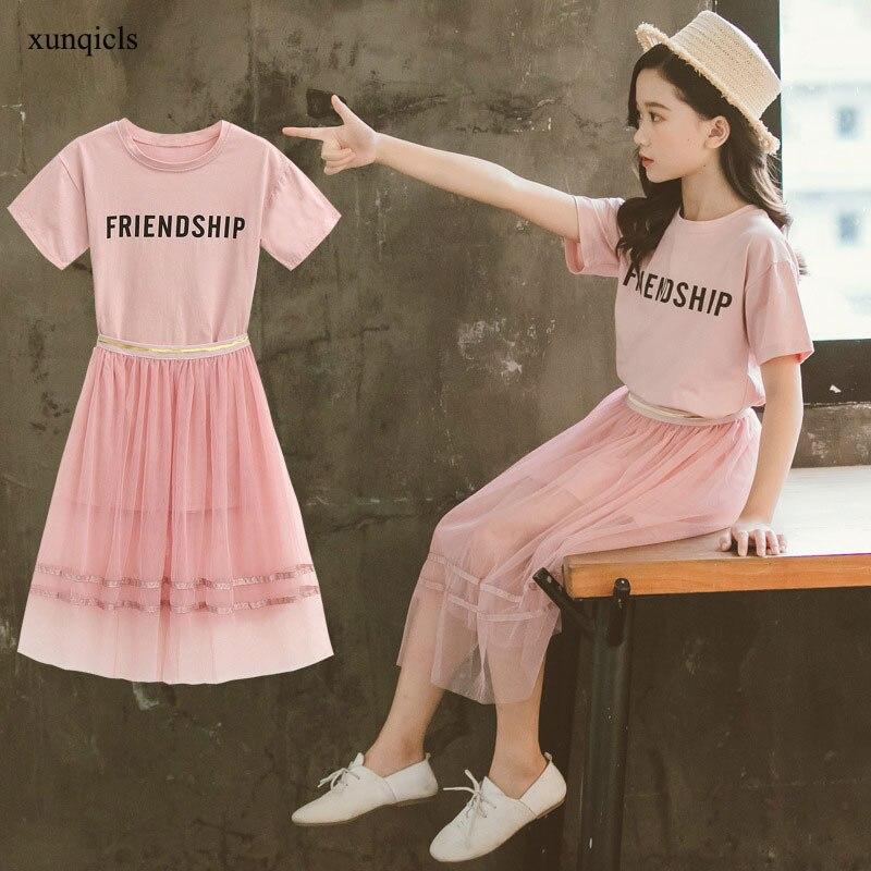 Детские летние комплекты одежды длинная футболка для девочек + юбка, костюмы из 2 предметов детская верхняя одежда с короткими рукавами, оде...