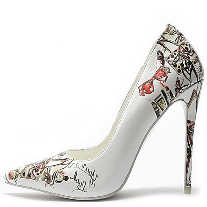 YECHNE White Wedding High Heels Shoes Women's Woman Bridal Heel Shoes Plus Size Pointed Toe Pumps Party Stiletto Graffiti