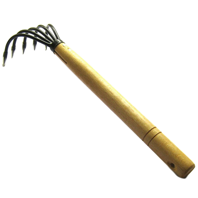 Durable 5-Tine Claw Rake Cultivator Seafood Rake With Wood Handle Gardening Rake Mini Tools