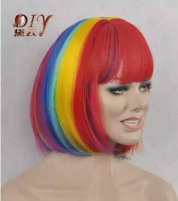 Suyushun1018 + + +> peluca arcoíris de mezcla para mujeres rectas de pelo caliente de lujo