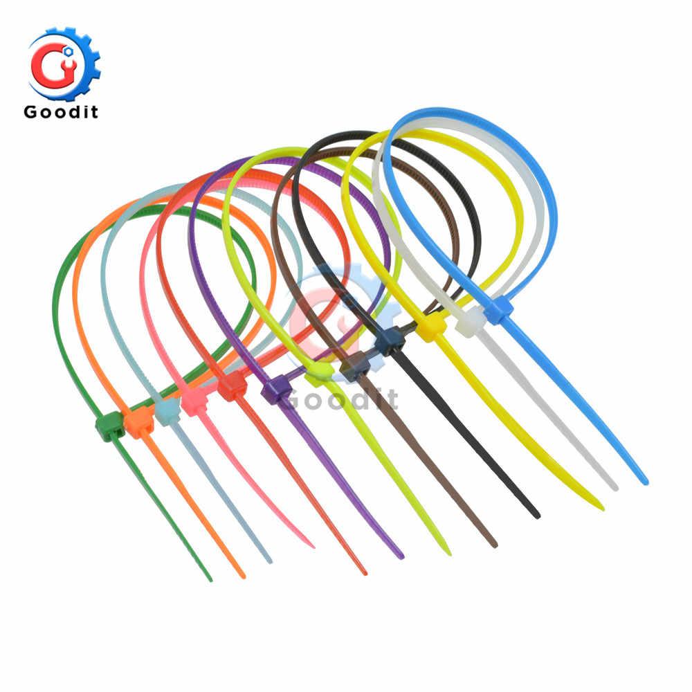 100mm kendinden kilitleme naylon kablo bağları 3.94 inç 100 adet 12 renk plastik Zip bağ teli bağlama wrap sapanlar organizatör tutturmak kablo