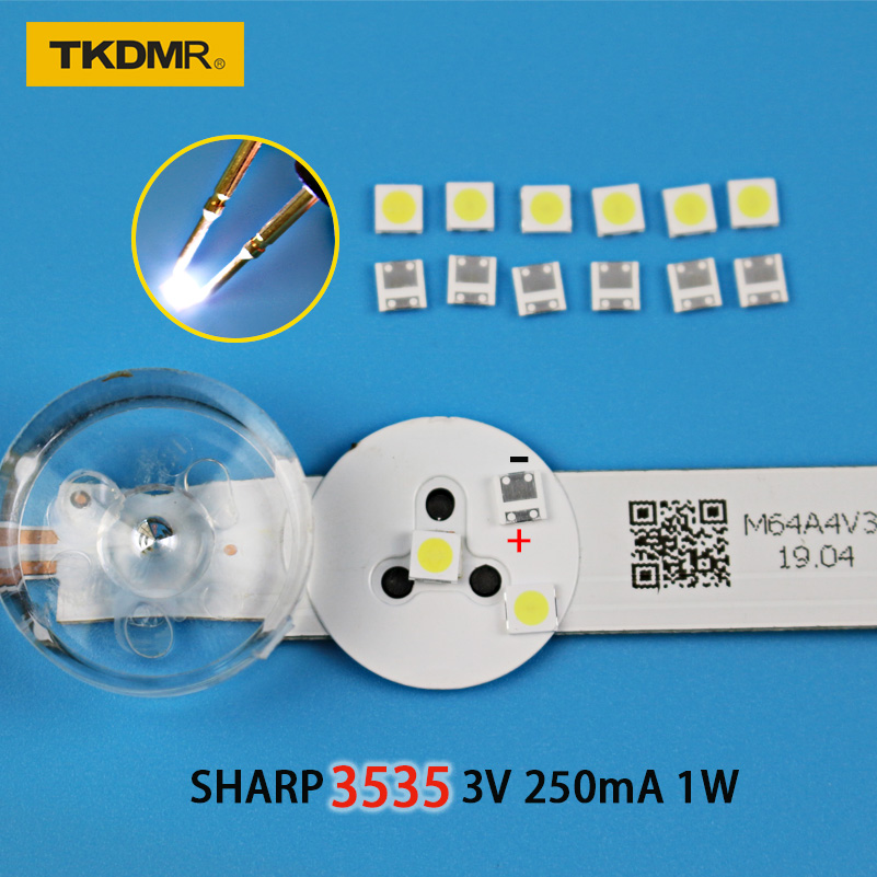 TKDMR 30pcs SHARP High Power LED LED Backlight 2W 3535 3V 6V Cool White 135LM TV Application Free Shipping