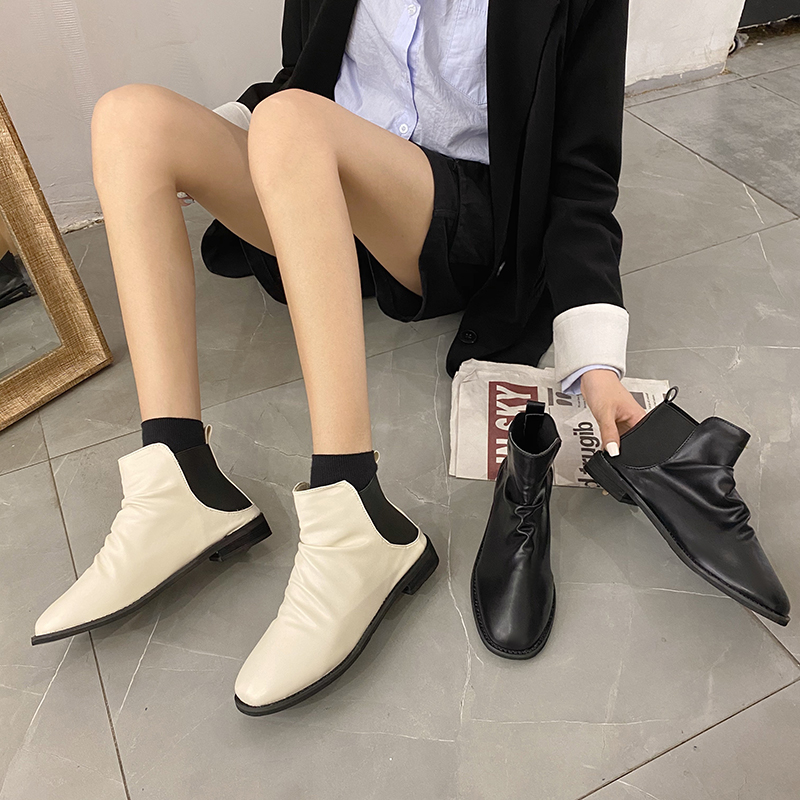 Rock Shoes Woman  Round Toe Lady Boots Luxury Designer Mid-Calf Booties Women Low Heels booties Boots-women Ladies Autumn
