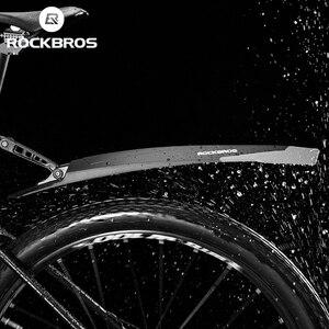ROCKBROS Bike Mudguard Soft Rubber Widening Adjustable Rear Front Tail Bike Fender Bike Part MTB Mudguard Bike Accessories