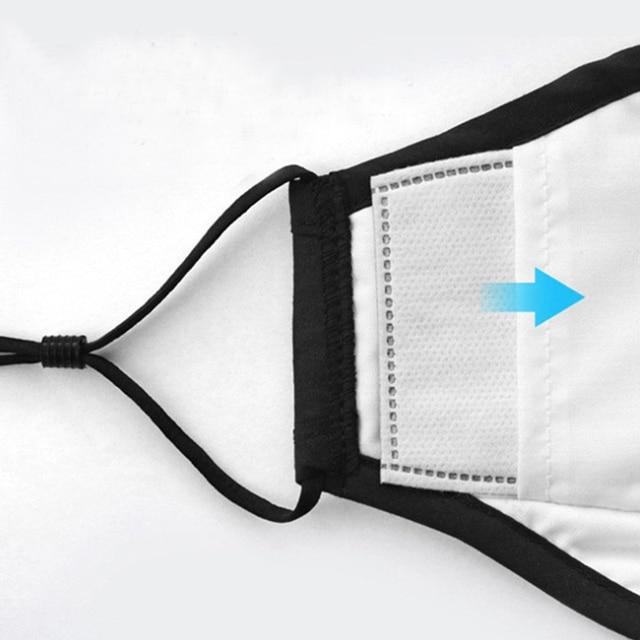 1set Women Cotton Mask Anti Dust Air Pollution Breath Activated Carbon Filter Black Mouth Mask Men Reusable Face Masks 4