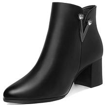 цены Short Boots Women Thick-heeled Women Shoes Autumn/winter Boots Women High-heeled Martins Boots Ankle High Boots Women 3-41
