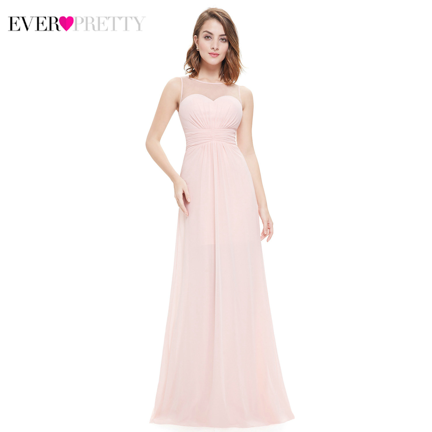Elegant Bridesmaid Dresses Ever Pretty EP08761 A-Line O-Neck Sleeveless Ruched Chiffon Wedding Guest Dresses Vestido Madrinha