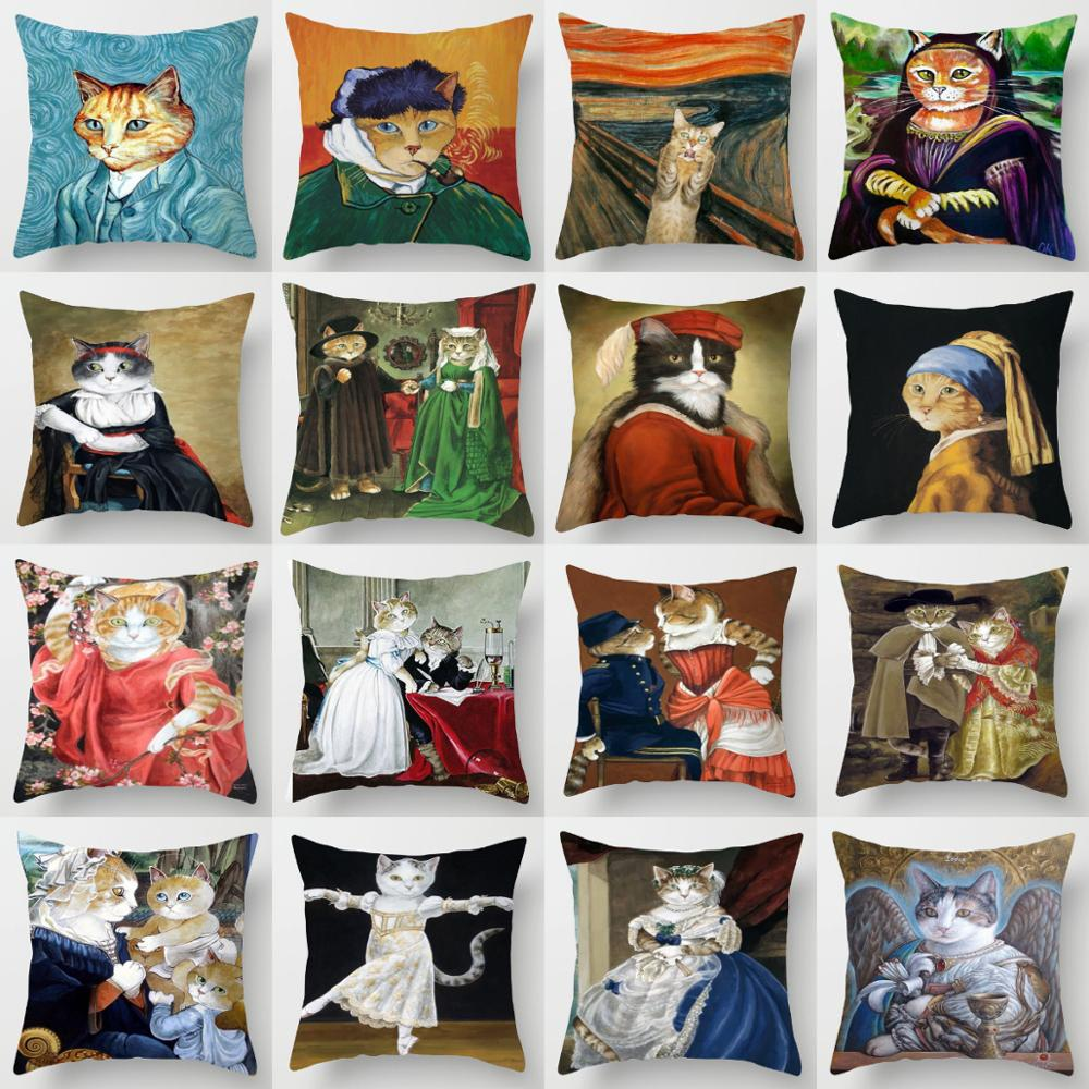 ZENGIA Vintage Cat Cushion Cover 45x45cm Van Gogh Animal Pillow Cover For Sofa Decorative Pillows For Sofa Cat Pillowcase