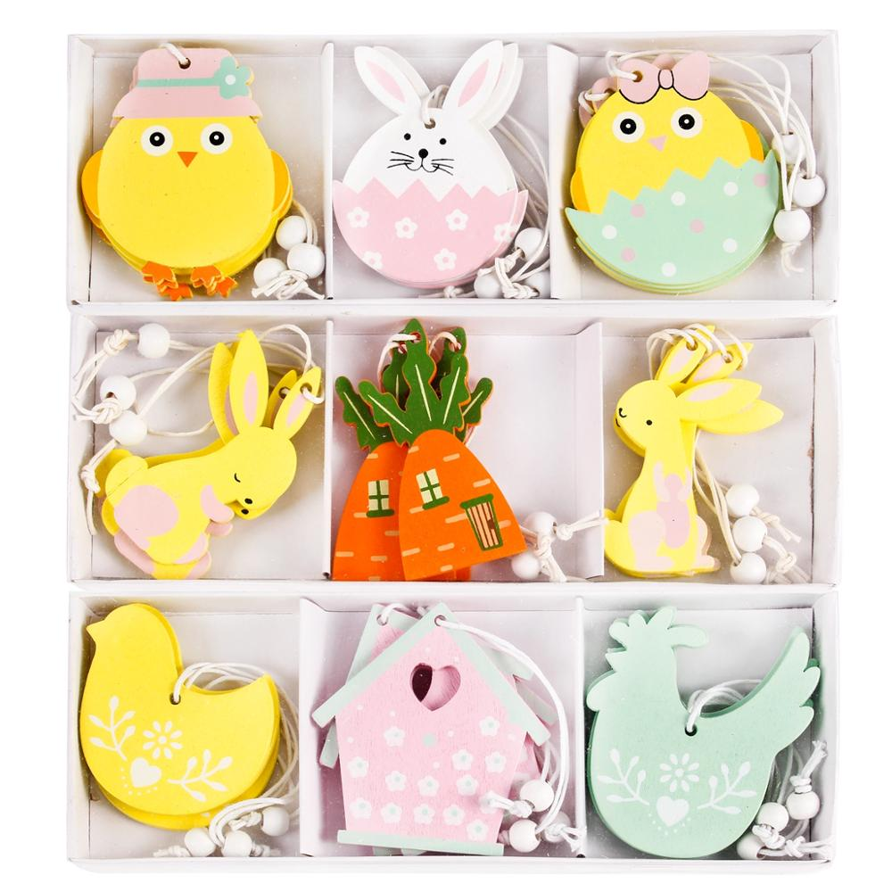 Easter Wooden Rabbit Ornaments Happy Easter Decor For Home Bunny Easter Eggs Party Decor Pendants Easter Rabbit Decor Gift