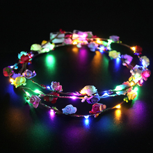 1/2/5pcs Led Light Artificial Flowers Wreath Headband Garland wedding Decoration Flower Crown Girl Birthday Party hair band party glowing wreath halloween crown flower headband women girls led light up hair wreath hairband garlands gift