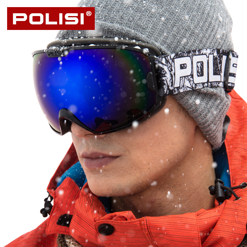 POLISI Goggles Snowboard Ski Snow Glasses Double HD PC Lens  Anti-fog Men Women Winter Outdoor Protective Windstopper P828