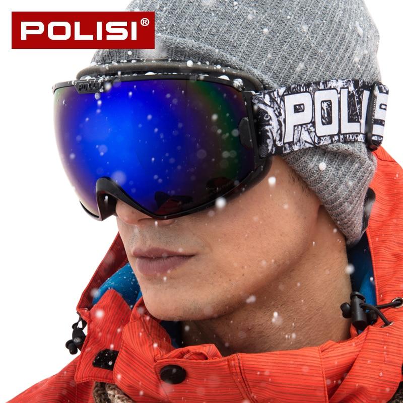POLISI Goggles Snowboard Ski Snow Glasses Double HD PC Lens  Anti-fog Men Women Winter Outdoor Protective Windstopper P828
