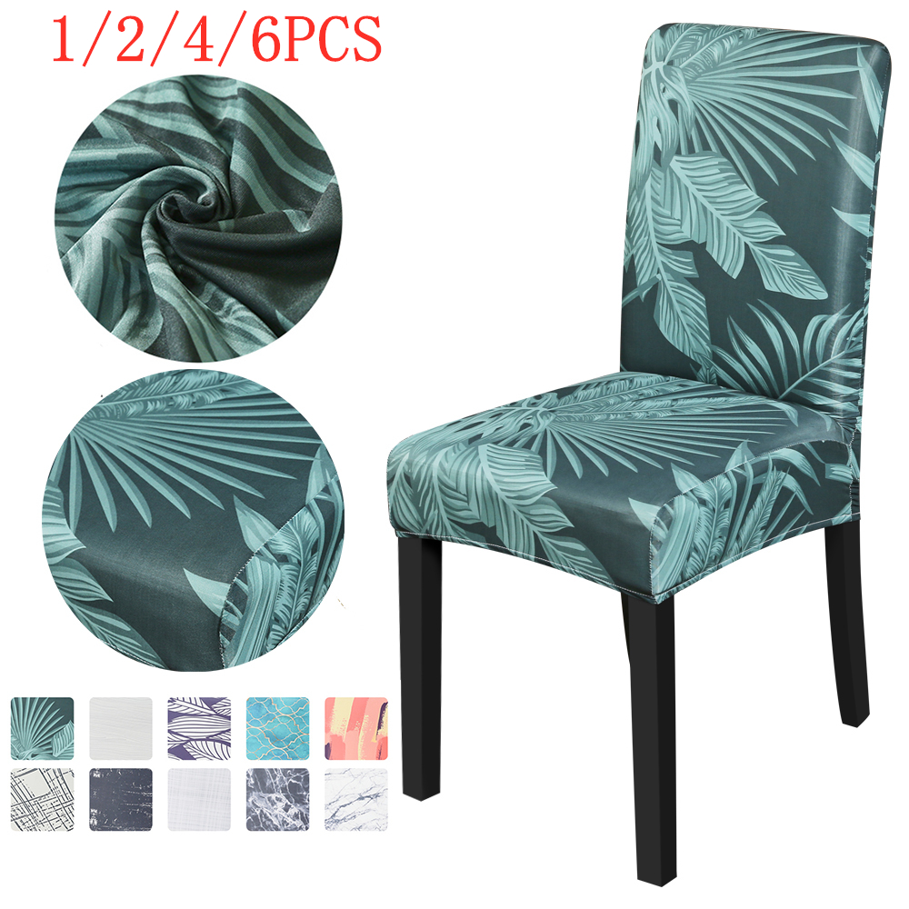 New 1/2/4/6PCS Spandex Chair Covers Elastic Dining Chair Cover Stretch Slipcovers Protector Anti-Dust Home Furniture Decor