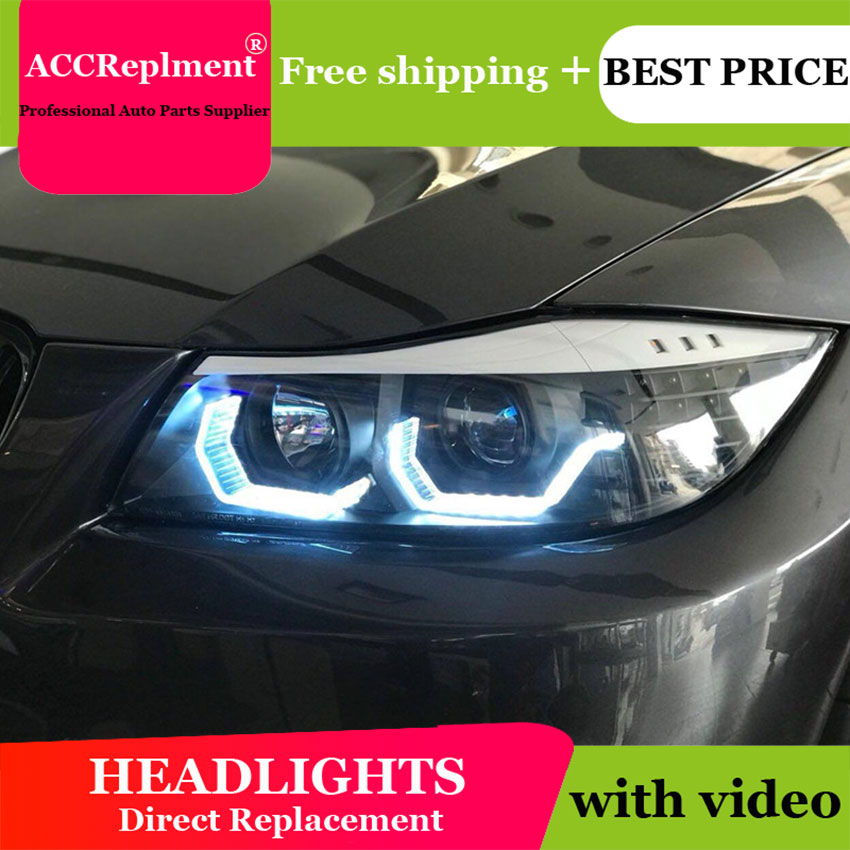 Car Styling for <font><b>BMW</b></font> 3 Series <font><b>E90</b></font> <font><b>LED</b></font> <font><b>Headlights</b></font> 2005-2011 <font><b>LED</b></font> Lens Double Beam H7 HID Xenon bi xenon lens image