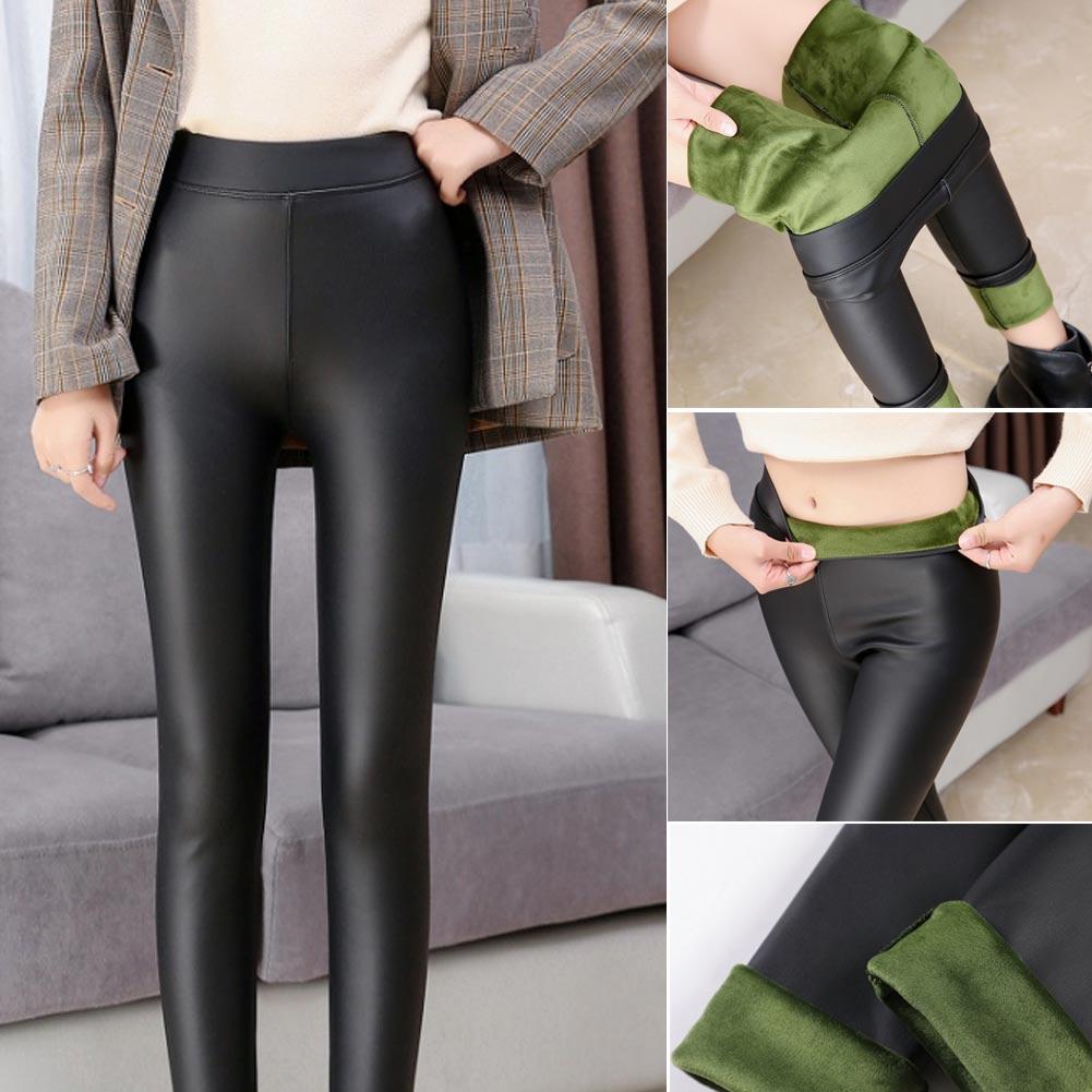 Hot Women PU Leather Shaper Leggings Thick Plush Stretch Pants Long Warm Trousers CGU 88
