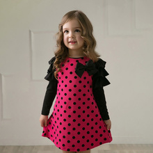 Polka Dot Girls Dresses Bow Princess Teenage Casual Dress Autumn Girl Dress Cotton Long Sleeve Children Dresses preppy style dot teenage girl dress 2018 autumn winter long cotton ruffles kids dresses long sleeve children dress baby clothing