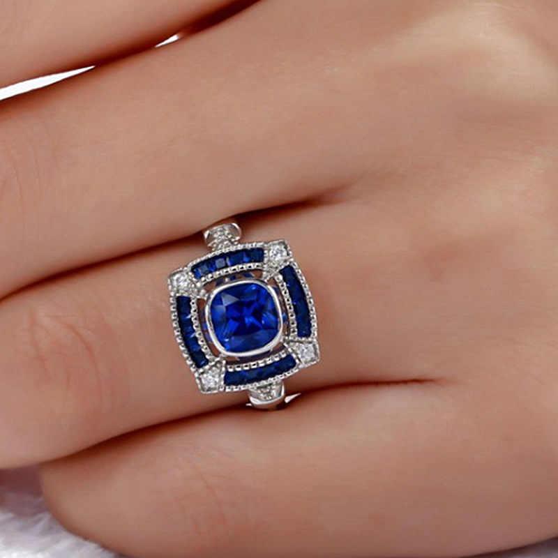 Hollow แหวน 925 เงินสีฟ้าคริสตัล Cz แหวนหมั้นแหวนแต่งงานแหวนนิ้วมือเจ้าสาวอินเดียเครื่องประดับแหวนพลอย