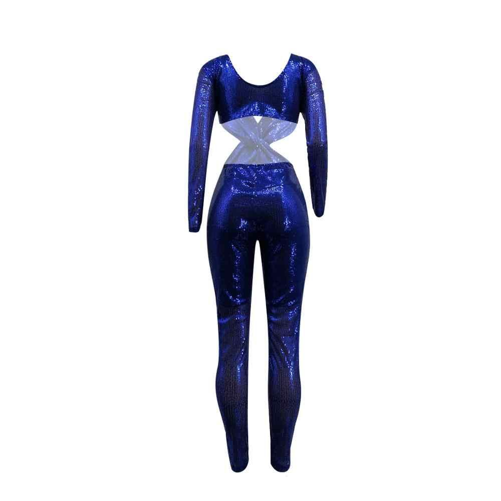 ผู้หญิงฤดูใบไม้ร่วง Jumpsuit ฤดูใบไม้ผลิแขนยาว V-Neck Sequined Hole Street เอว Sexy Night Club Romper ชุดปาร์ตี้ Plus ขนาด