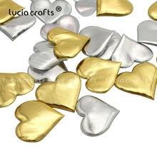 100 шт 34 мм Золотая Серебряная губка в форме сердца конфетти DIY вечерние свадебные метательные лепестки украшения для свадебной комнаты B1006