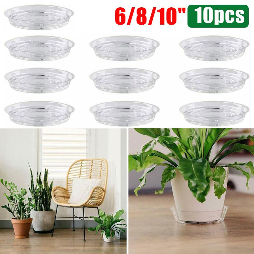 10шт% 2FSet сад цветок горшок коврик растение блюдце капля лоток круглый горшок основа прозрачный закуска контейнер ПЭТ для дома на открытом воздухе сад