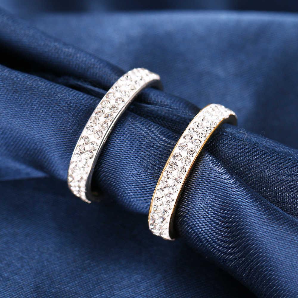 CACANA 2 satır hatları temizle kristal alyanslar kadınlar için moda Rhinestone paslanmaz çelik kadın genç takı anillos mujer R3