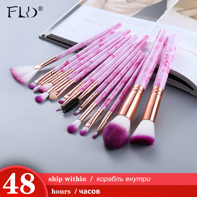 Fld5/15 pces pincéis de maquiagem conjunto cosméticos pó sombra de olho fundação blush blush mistura beleza compõem kabuki escova ferramentas maquiar 3