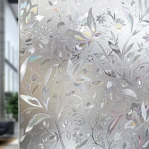 Glass Sticker Flower-Film Paper Adhesive-Decor Opaque Anti-Static on 3D 100x45cm