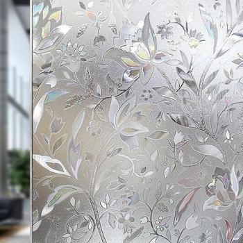 3D 100x45cm antystatyczna szklana naklejka nieprzezroczysta folia kwiatowa na szkle samoprzylepna folia okienna okno naklejka klej do papieru Decor tanie i dobre opinie Statyczne czepiać 100*45cm Tłoczone Nieprzezroczyste Szkło filmy Dekoracyjne Dropshipping Wholesale Fast Shipping Sufficient
