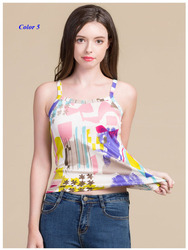 وصل حديثًا سترة من الحرير الخالص للسيدات بحمالات رفيعة ، قميص قصير من الحرير المحبوك 100% ، قميص سفلي بطباعة حريرية للنساء