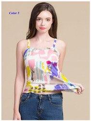 Nieuwe collectie lady pure zijde spaghetti band vest, 100% gebreide zijde hemdje, vrouwen zijde afdrukken bodem shirt