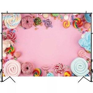 Image 3 - Laeacco Детские задние фоны для фотографий в день рождения розового цвета конфеты десерт пончик леденец фото задние фоны новорожденный фотосессия Фотостудия