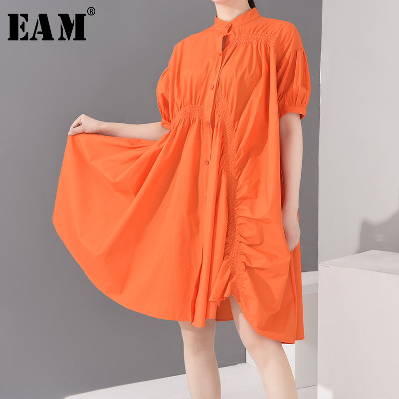 [EAM] Women Orange Pleated Big Size Shirt Dress New Stand Collar Half Sleeve Loose Fit Fashion Tide Spring Summer 2020 1U17306
