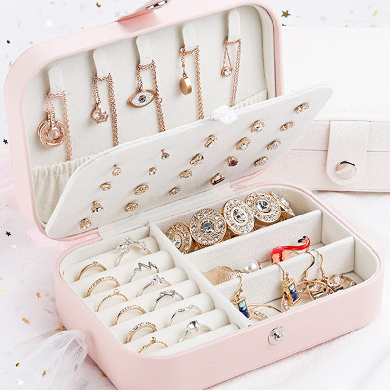 2021 ROSE SPACE Jewelry Box Jewelry Storage Box Earrings Necklace Ring Bracelet Ring Display Box Cosmetic Bag Mothers Day Gifts