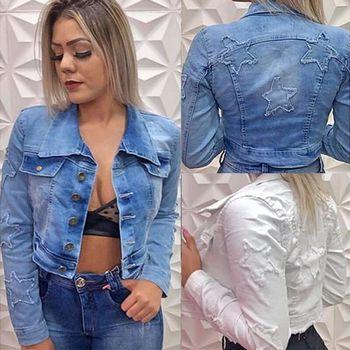 2020 New Cropped Denim Jackets Women Star Patchwork Long Sleeve Streetwear Jean Coat Short Bomber Outerwear Chaquetas