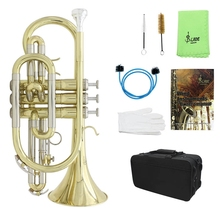 Slade Bb Flat Cornet Professional Bb Flat Cornet Brass Beginner Musical Instrument with Carrying Case Gloves Cleaning Cloth Brus