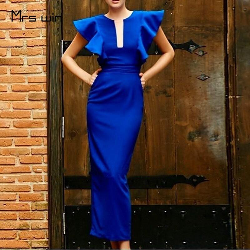Mrs win платья подружек невесты королевский синий оборками Элегантное Длинное платье русалки Vestido Madrinha HR288 с открытыми плечами длинное свадебн