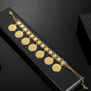 Image 4 - Женский браслет в виде Соединённых золотых монет, мужской браслет золотого цвета в турецком стиле, ювелирные изделия из фетра, африканские, мусульманские, мусульманские, арабские браслет, свадебные подарки