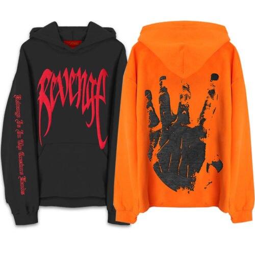 Hip Hop Men's Hoodie Tops Revenge Kill Hoodies XXXTentacion Sweatshirt Harajuku Street Wear Pullover Orange Black XXL