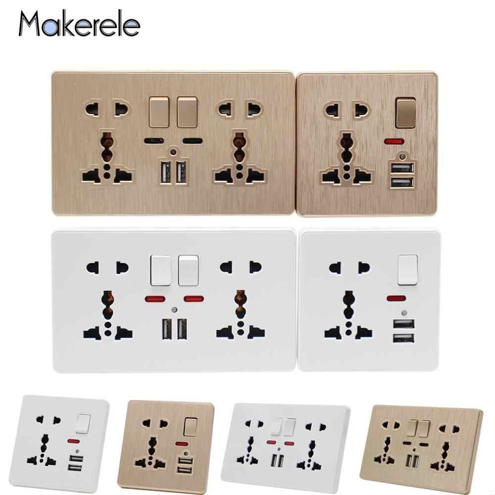 13A prise de courant murale universelle | Interrupteur, prise de commande 5 trous 2USB, Port de Charge Induction intelligent pour Mobile 5V 2.1A