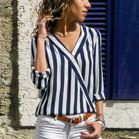 Blusa a rayas para Mujer Blusa de manga larga con cuello en V Camisas Casual blusa et Chemisier Mujer Blusas Mujer de Moda 2019