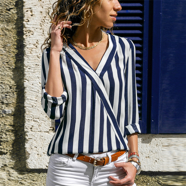 Women Striped Blouse Shirt Long Sleeve Blouse V-neck Shirts Casual Tops Blouse 35