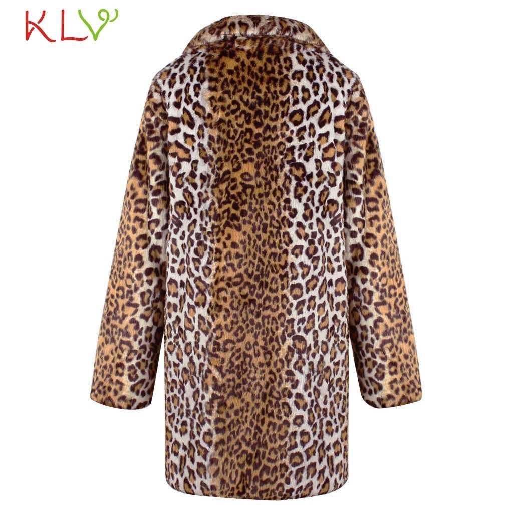 Женская куртка с леопардовым принтом из искусственного меха, зимнее теплое пальто с карманами, Повседневная парка, ветровка, плюс размер 2019, верхняя одежда, базовые куртки 19Ag