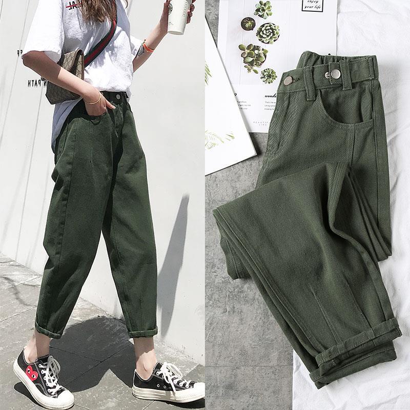 Vangull Loose Women Jeans Candy Color High waist Harem Pants solid Female Denim Pencil Pants Lady Winter Ankle-Length Trousers
