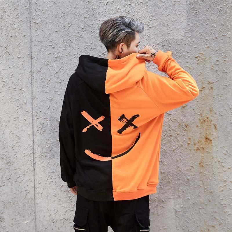 2019 New Men Hoodies Sweatshirts Smile Print Headwear Hoodie Hip Hop Streetwear Clothing Us Size Plus Size 3XL 8 Colors HOT