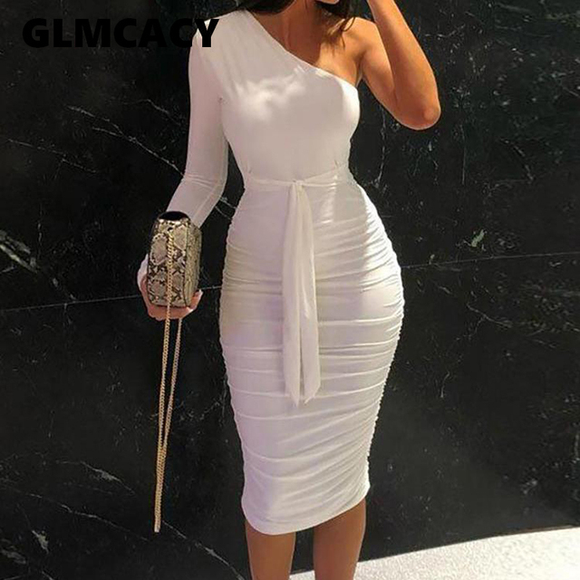 Women Elegant Fashion Sexy White Cocktail Party Slim Fit Dresses One Shoulder Belted Ruched Design Bodycon Midi Dress 1