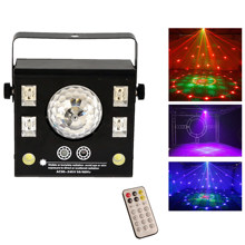 4 in 1 LED stage projector, magic stroboscopic crystal ball, uv laser, DJ Disco stage effect beam spot, remote dmx