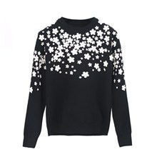 Winter Autumn Floral Appliques Sweater Fashion Women Casual Knit O-Neck Long Sleeve Jumpers Pullovers