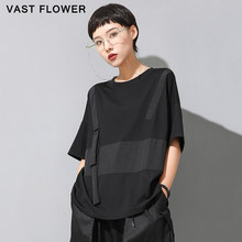 Women Black Contrast Color Plus Size T-shirt New Patchwork Short Sleeve Loose Casual Fashion Clothes Tshirt Tops Summer 2021
