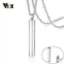 Vnox Minimalistischen Urne Halsketten für Frauen Mann Ton Kann Geöffnet Werden Zylinder Andenken Geschenke