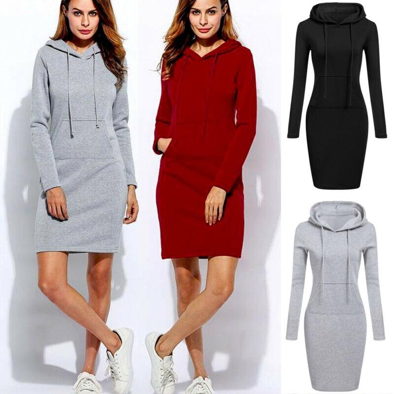 New Autumn Winter Woman Dress Vestidos Warm Sweatshirt Long-sleeved Dress Hot Woman Clothing Hooded Collar Pocket Design Simple